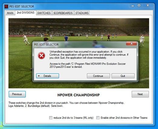 Ошибка Unhandled exception has occurred при запуске игры PES