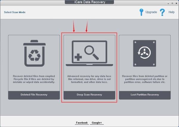 Интерфейс программы iCare Data Recovery