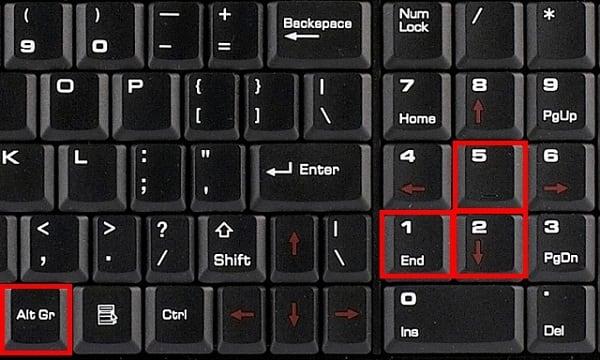 Клавиши для вставки квадратного корня
