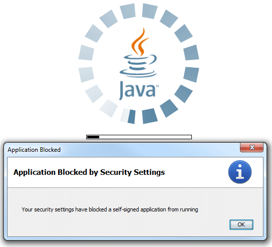 Скриншот ошибки Application Blocked By Java Security