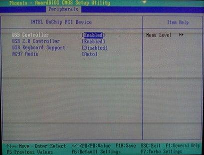 Проверяем задействование USB в биосе