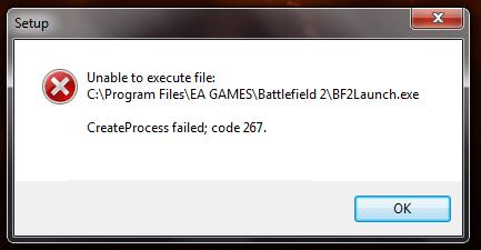 Скриншот ошибки сбой код 267