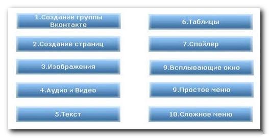 Картинка меню в социальной сети
