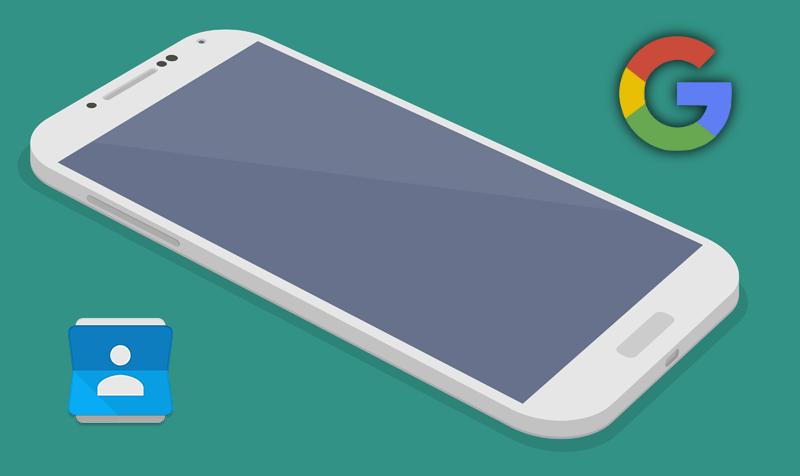 Изображение лежащего телефона и логотипа Google