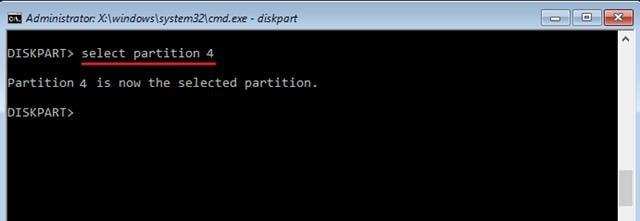 Используем команду select partition