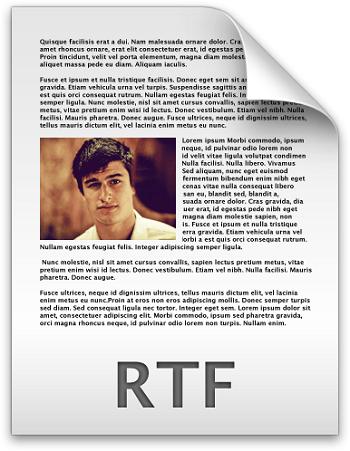 Скрин текста RTF