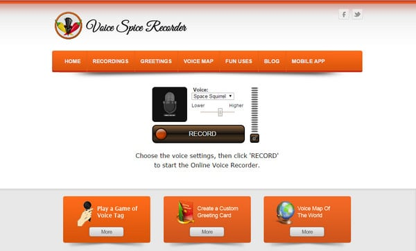 Интерфейс Voice Spice Recorder