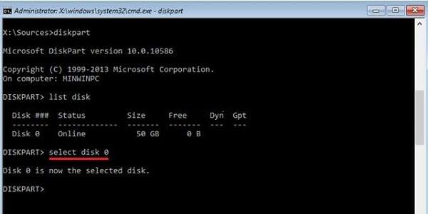 Скрин команды select disk