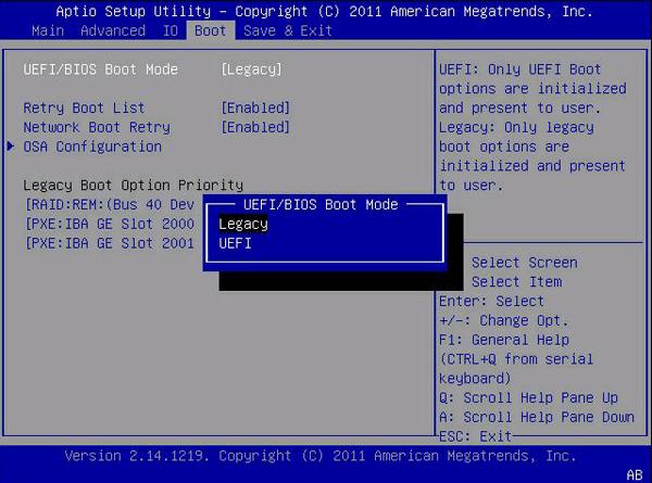 Пробуем Legacy или UEFI