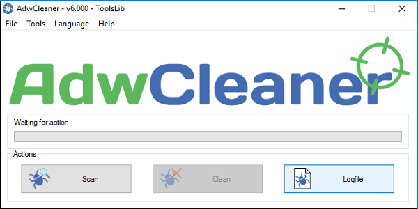 Экран программы AdwCleaner