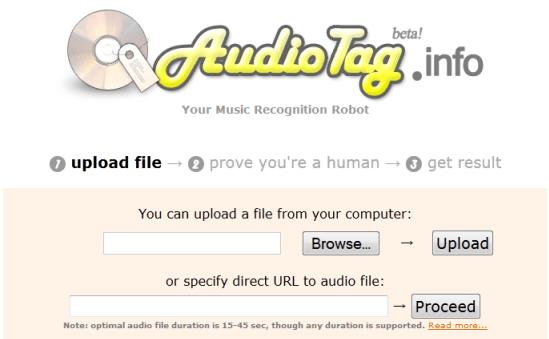 Рабочее окно сервиса AudioTag