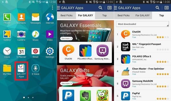 """Внешний вид """"Galaxy Apps"""""""
