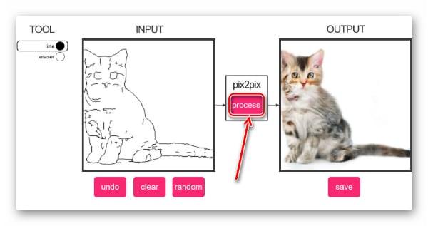 """Кнопка """"Process"""" сервиса Pix2pix"""