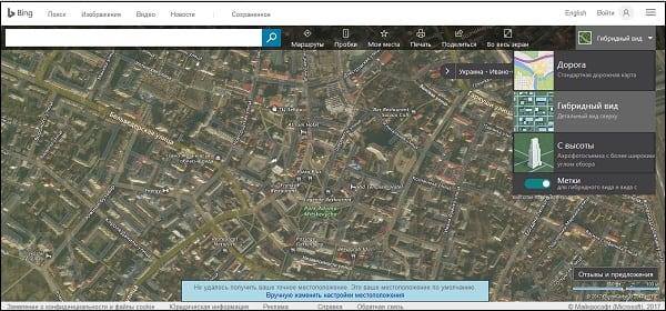 При работе с картами Bing не забудьте активировать гибридный вид