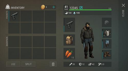 Пистолет в инвентаре