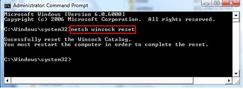 Выполнение команды Netsh winsock reset