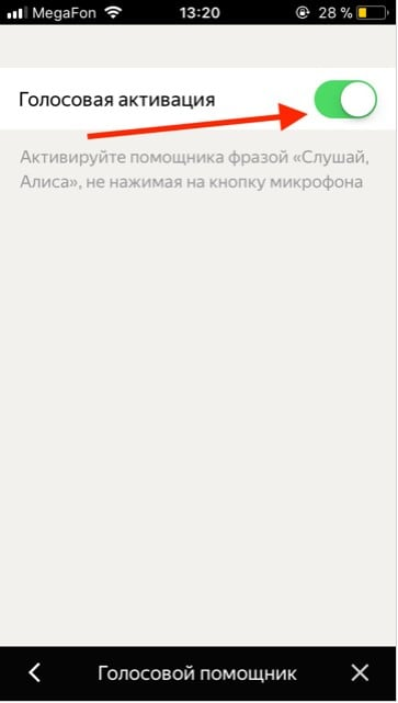 Экран активации Алисы на айфоне