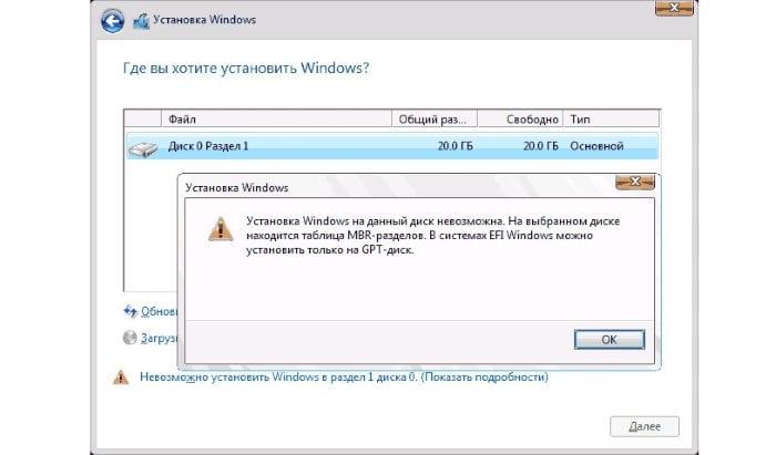 Ошибка установки Windows