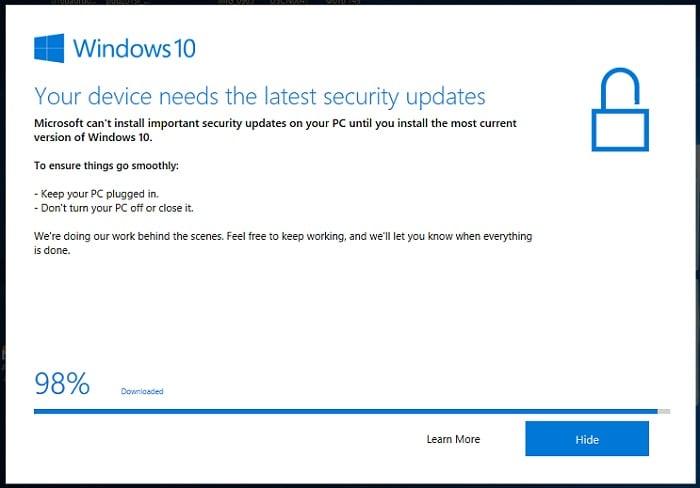 Скриншот необходимости обновления на Windows 10