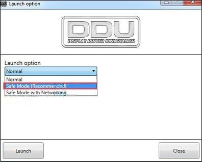 Экран запуска DDU в безопасном режиме