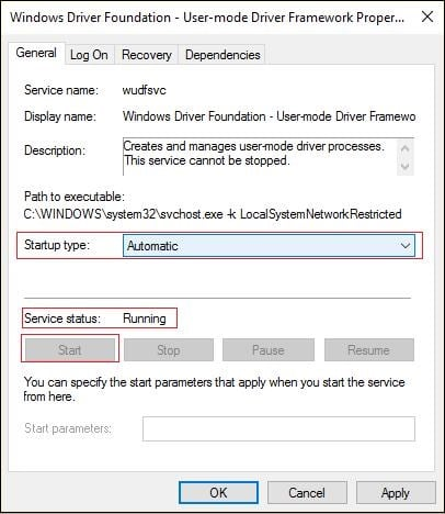 "Окно службы ""Windows Driver Foundation"""