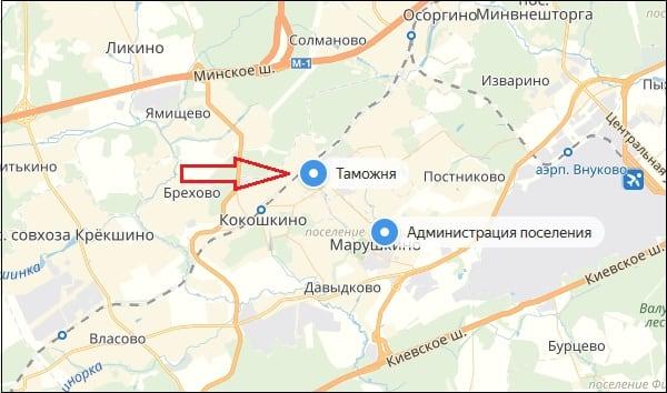 Таможня на карте
