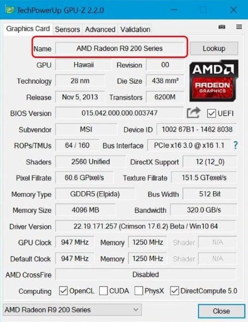 Определение модели и фирмы-производителя при помощи утилиты GPU-Z