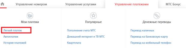 """Раздел """"Легкий платеж"""" на сайте pay.mts.ru"""