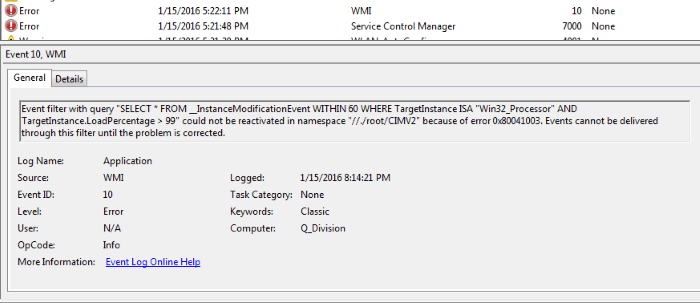Скрин ошибки Win32_Processor «AND TargetInstance