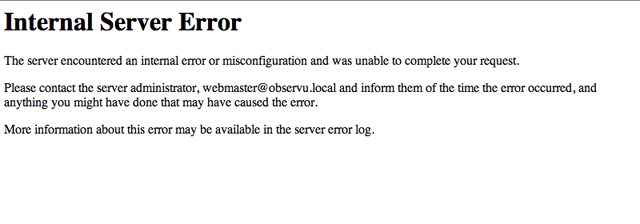 Скриншот ошибки Internal Server Error