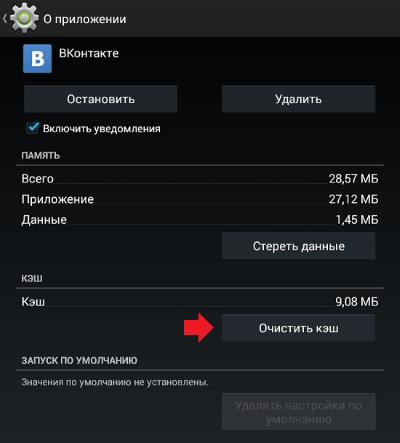 Данные приложения Вконтакте