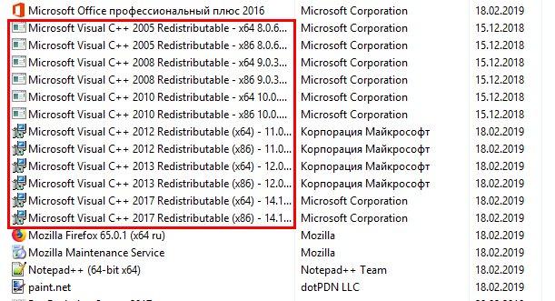 Установленные пакеты Visual C++