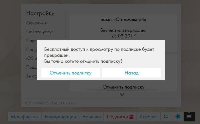 Скриншот отмены подписки в ОККО