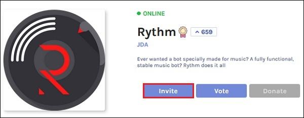 Нажмите Invite Rhytm