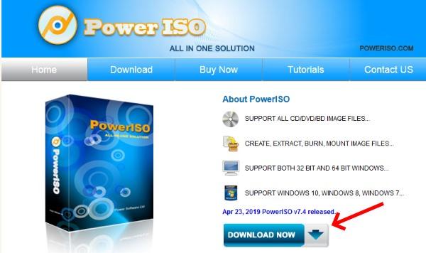 Страница загрузки PowerISO