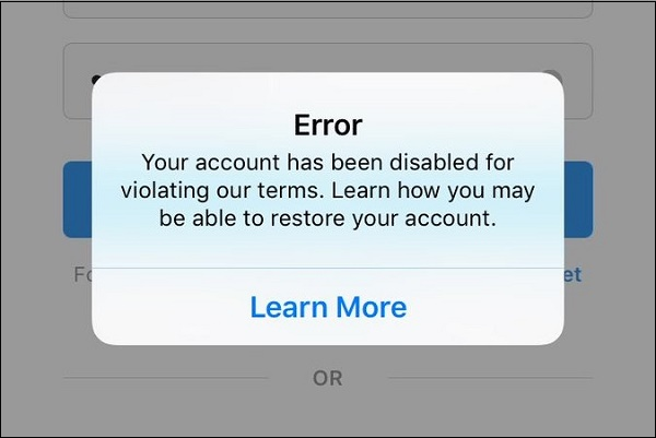 Сообщение об отключенном аккаунте