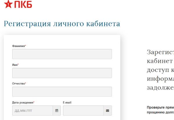 Форма регистрации на сайте ПКБ