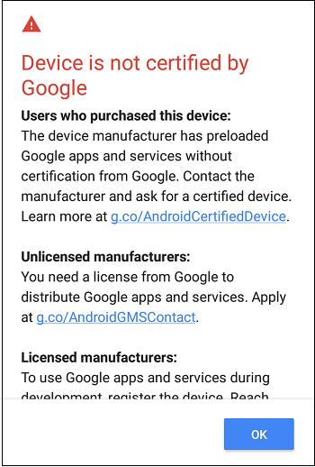 Телефон не сертифицирован
