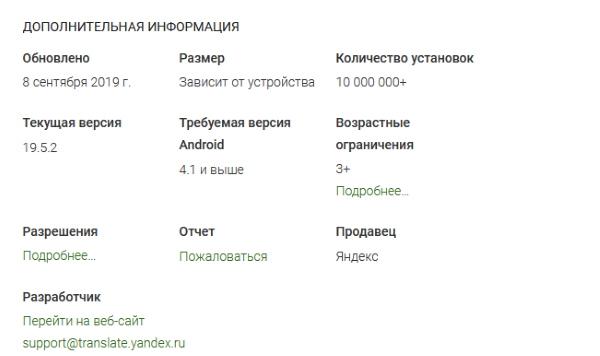 Информация о Яндекс Переводчике