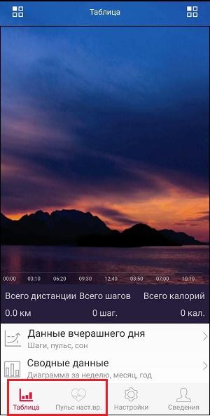 """Разделы """"Таблица"""" и """"Пульс"""" приложения JetSport"""