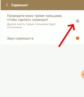 Ползунок активации скриншотов