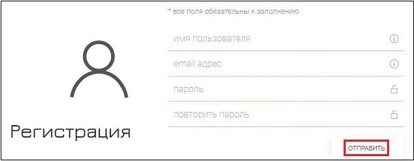 Регистрационная форма на сайте