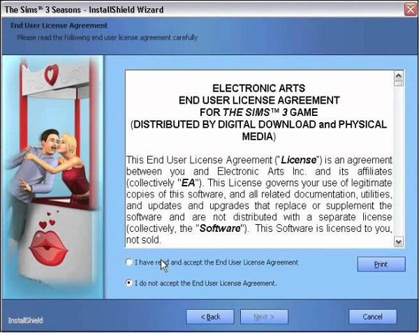 Окно инсталляции Sims 3
