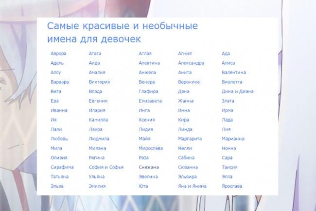 Список красивых имен для девочек