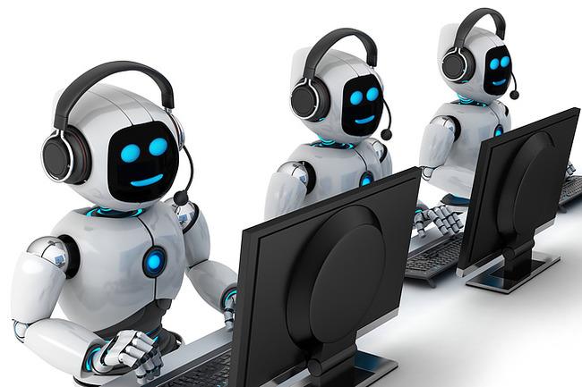 Три робота за компьютерами