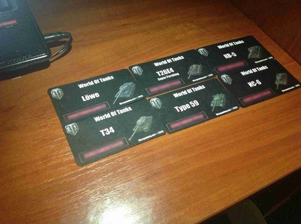 Карточки с бонус кодами на новые танки