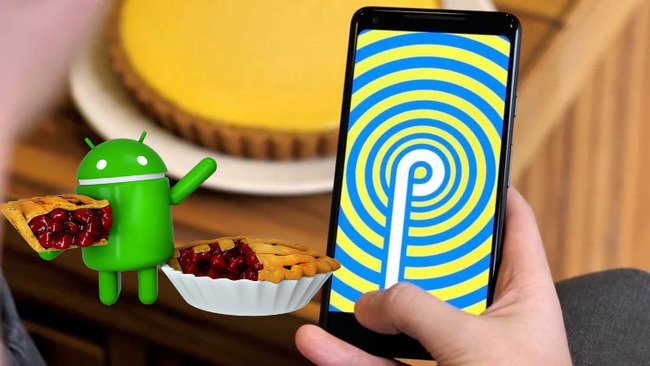 Изобрежение маскота Андроида рядом со смартфоном на фоне пирога