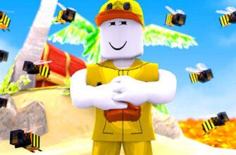 Фигурка человечка из Роблокс на фоне пляжа и пчел