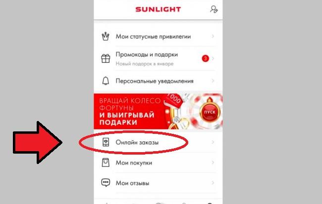 Скриншот с вкладкой Онлайн заказы