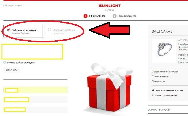 Скрин страницы для оформления покупки